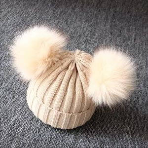 Beige Knitted Baby Beanie with 2 Pom Poms